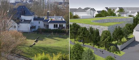 Bildkombo: Wiese zwischen Häusern/ Entwwurf für das geplante Parkhaus