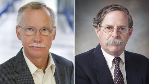 Paul-Ehrlich-Preisträger Franz-Ulrich Hartl (li.) und Arthur Horwich.