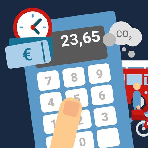 Die Grafik zeigt eine Kombination aus Taschenrechner, Uhr, Geldscheinen und verschiedendene Verkehrsmitteln.