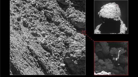 Der Landeroboter Philae steht eingeklemmt in einem dunklen Spalt auf dem Kometen Tschuri.