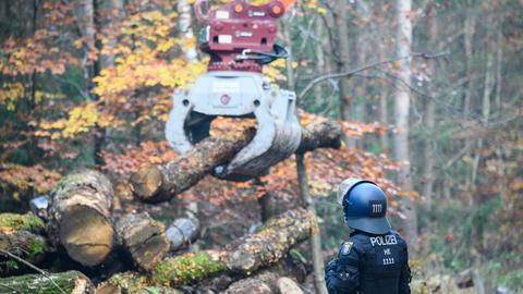 Ein Polizei überwacht das Beseitigen von Holz-Barrikaden