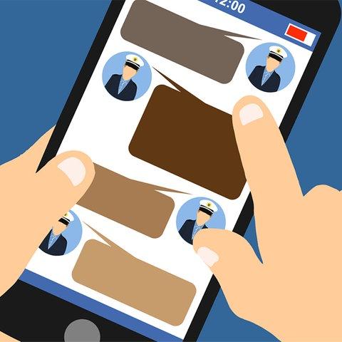Die Grafik zeigt eine Hand, wie sie ein Mobiltelefon in der Hand hält, auf dem Nachrichten - symbolisiert durch braune Sprechblasen - von Polizisten zu sehen sind.