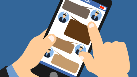 Die Grafik zeigt eine Hand, wie sie ein Mobiltelefon in der Hand hält, auf dem rechtsextreme Nachrichten zu sehen sind.