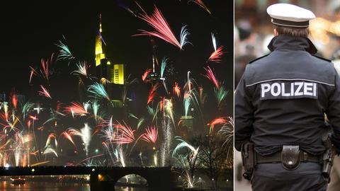 Bildkombi: Feuerwerk in Frankfurt - Polizist