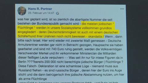 Ein Screenshot des umstrittenen Facebook-Posts auf der Seite von Hans R. Portner.