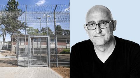 Collage: Abschiebegefängnis in Darmstadt von außen; Portrait peter Fahlbusch