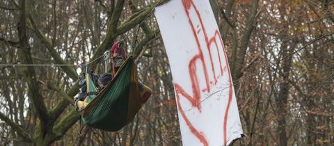 ein Protestbanner mit Stinkefinger hängt im Dannenröder Forst