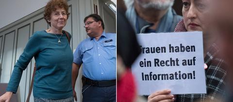 Die Ärztin Kristina Hänel beim Betreten des Verhandlungssaals - Solidaritätsdemo in Gießen