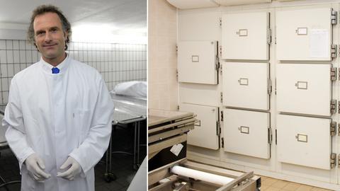 Collage aus einem Bild von Rechtsmediziner Verhoff und dem Bild einer Leichenhalle