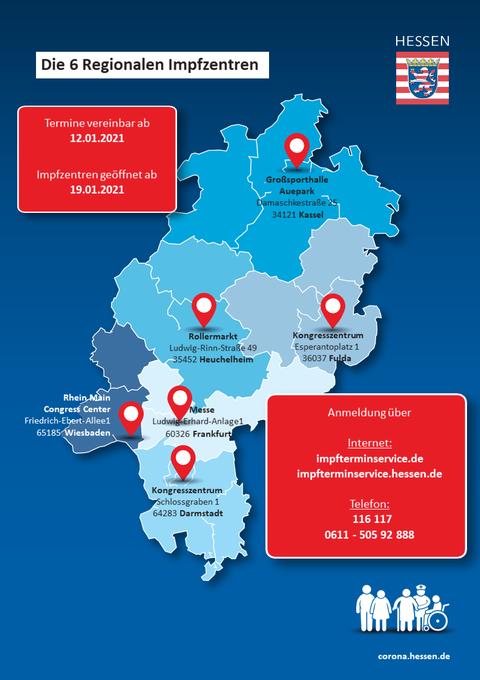 Eine Grafik der sechs großen, regionalen Impfzentren
