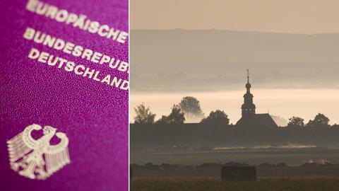 Collage: Reisepass und Roßdorf im Morgennebel.