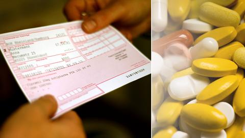 Collage aus einem Kassenrezept, das überreicht wird, und vielen Tabletten