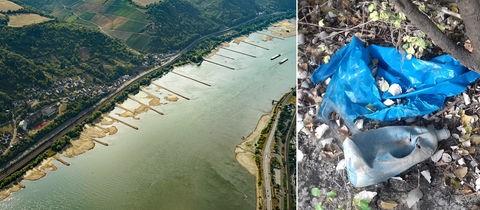 Die Bildkombination zeigt Bilder vom Rhein mit sehr niedrigem Wasserstand und die Müllablagerungen, die dadurch entstehen.