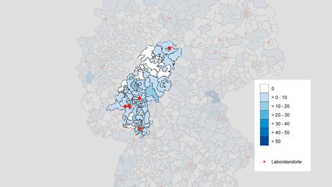 Deutschlandkarte; weitflächig blau eingefärbt