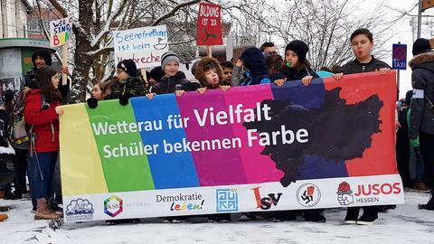 Schüler bei der Demo am Mittwoch in Friedberg.