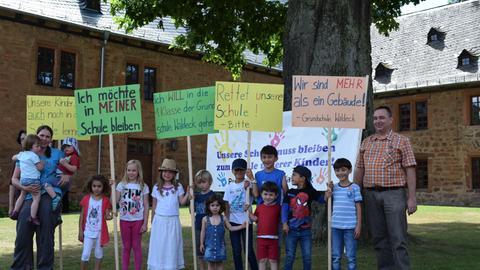 Protest an der Grundschule Waldeck