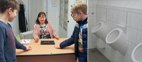 """Collage: Toilettenfrau Angelika Mantler und zwei Schüler aus der 5. Klasse sowie eine """"10Cent Toilette"""""""