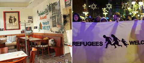 Bildkombo verwüstetes Café, Demo
