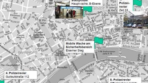 Karte: Anlaufstellen Polizei Innenstadt