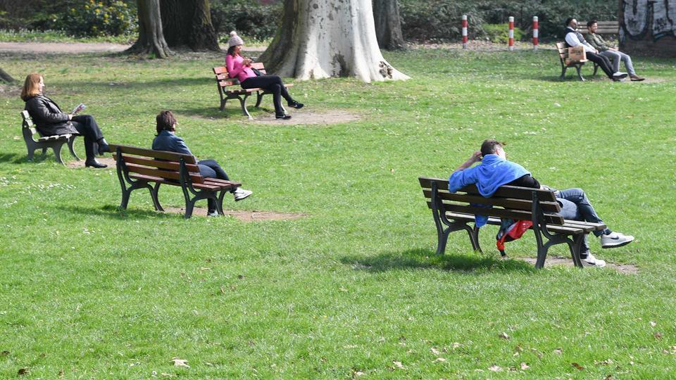 In einem Park sitzen Menschen vereinzelt auf fünf Bänken.
