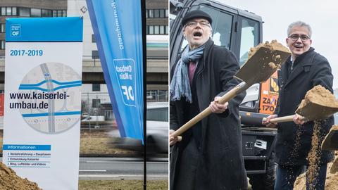 Spatenstich für den Umbau des Kaiserlei-Kreisels - Offenbachs OB Horst Schneider (SPD) und Wirtschaftsminister Tarek Al-Wazir (Grüne)