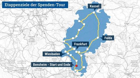 Die Karte zeigt den Umriss Hessens und darin verortet die Etappenziele der im Text beschriebenen Spendentour.
