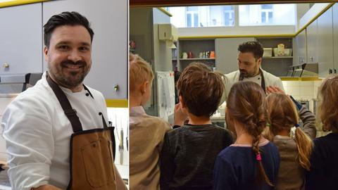 Collage: Portrait Waldemar Müller und Kinder beobachten ihn beim Kochen