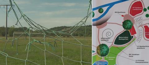 Fußballplatz in Ortenberg-Selters, der seit Jahren nicht mehr benutzt wird - Ausschnitt des Plans für den Natur-Erlebnispark.