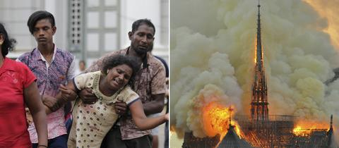 Bildkombo: Anschlagsopfer in Sri Lanka, die brennende Kathedrale von Notre-Dame