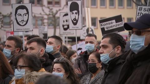 Demonstration zum Gedenken der Anschlagsopfer in Hanau.