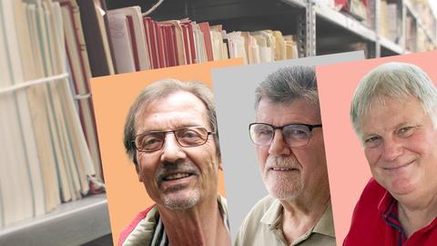 Drei Porträts der Protagonisten, im Hintergrund Aktenregale