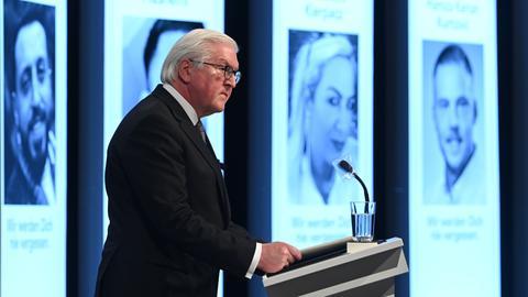 Bundespräsident Steinmeier bei der Gedenkfeier in Hanau