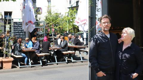 Ehepaar Knopp vor ihrem Restaurant Ginkgo