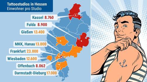 Hessenkarte mit der Angabe Einwohner pro Tattoostudio