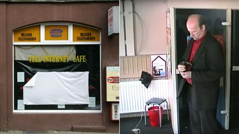 Yozgats Internet-Café in Kassel / Temme bei einer Tatort-Begehung