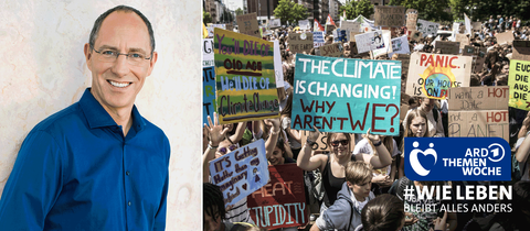 """Bildkombination aus einem Portrait vom Thomas Ranft und einem Foto einer Demonstration zum Klimawandel. Im Vordergrund ist ein Schild zu sehen mit der Aufschrift: """"Sei du selbst die Veränderung, die du dir wünschst für diese Welt."""""""