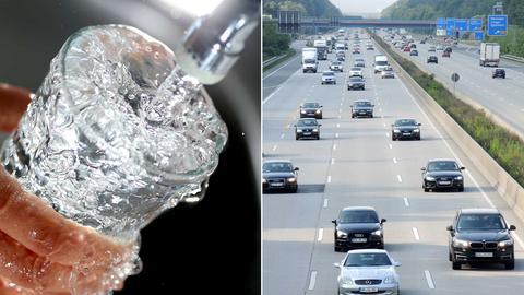 Fotokombination aus einem Foto einer Autobahn und einem Foto, auf dem Wasser aus dem Hahn in ein Glas fließt.