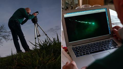 Collage: Hansjürgen Köhler von CENAP mit seinem Teleskop auf einer Wiese (li.), auf seinem Laptop betrachtet er ein Bild, das ihm zugesandt wurde (re.).