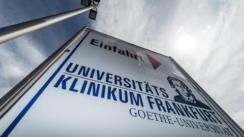 Einfahrtsschild Uni-Klinik Frankfurt