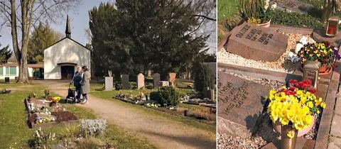 Christel Gorni auf dem Friedhof in Frankfurt-Bonames.