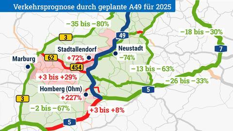Karte mit mehr und weniger Verkehr durch Ausbau