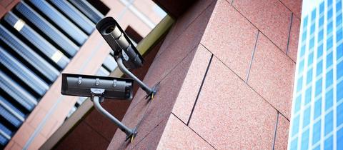 Videoüberwachung an einem Gebäude in Frankfurt