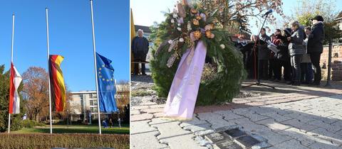 Flaggen auf Halbmast, Gedenkfeier mit Trauerkranz.