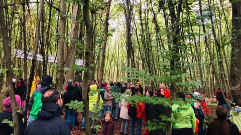 Gegner des A49-Ausbaus demonstrieren im Dannenröder Forst