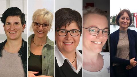 Fünf Lehrerinnen als Bildkombo