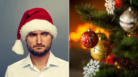 Mann (links) schaut grimmig auf Weihnachtskugeln (rechts)