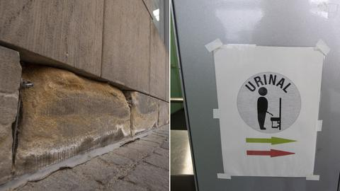 Links: Ein von Urin im Laufe der Jahre zersetzter Sandstein an der Fassade der Schirn. Rechts: Ein Hinweisschild in der öffentlichen Toilettenanlage am Paulsplatz weist auf das kostenlos nutzbare Urinal hin.