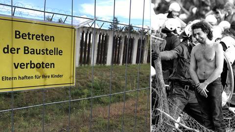 Collage Zaun Startbahn West heute und Proteste damals