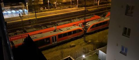 Abgestellter Pesa-Zug im Bahnhof Rödermark-Ober-Roden (hinterer Zug)