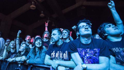 Junge Metal-Fans in blaues Licht getaucht